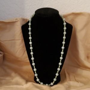 Jewelry - Jade Beaded Necklace with Pearls and Peridot